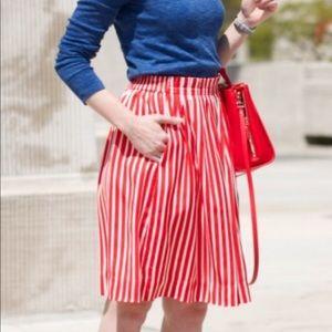 j.Crew Stripe Red and White Skirt